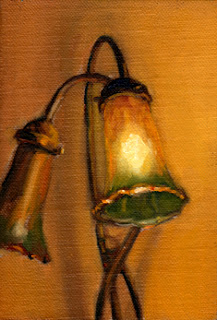 Oil painting of a doube-light Art Nouveau-Style lamp with one light illuminated.