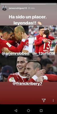 James Rodriguez se despide de Robben, Ribery y Rafinha en instagram stories