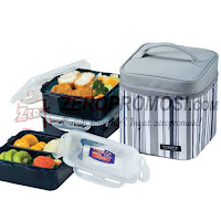 Lock & Lock Lunch Box Set With Stripe Bag Dark Gray HPL823DG