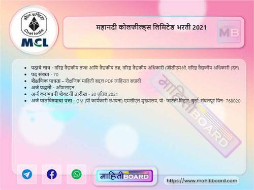Mahanadi Coalfields Limited Recruitment 2021