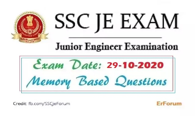 SSC JE 29-10-2020 Exam Paper [Memory Based] For All Branches