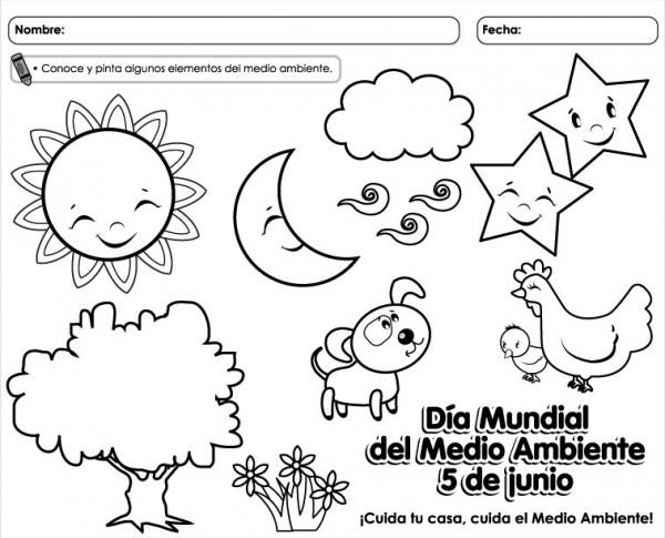 colorear día del medio ambiente para niños