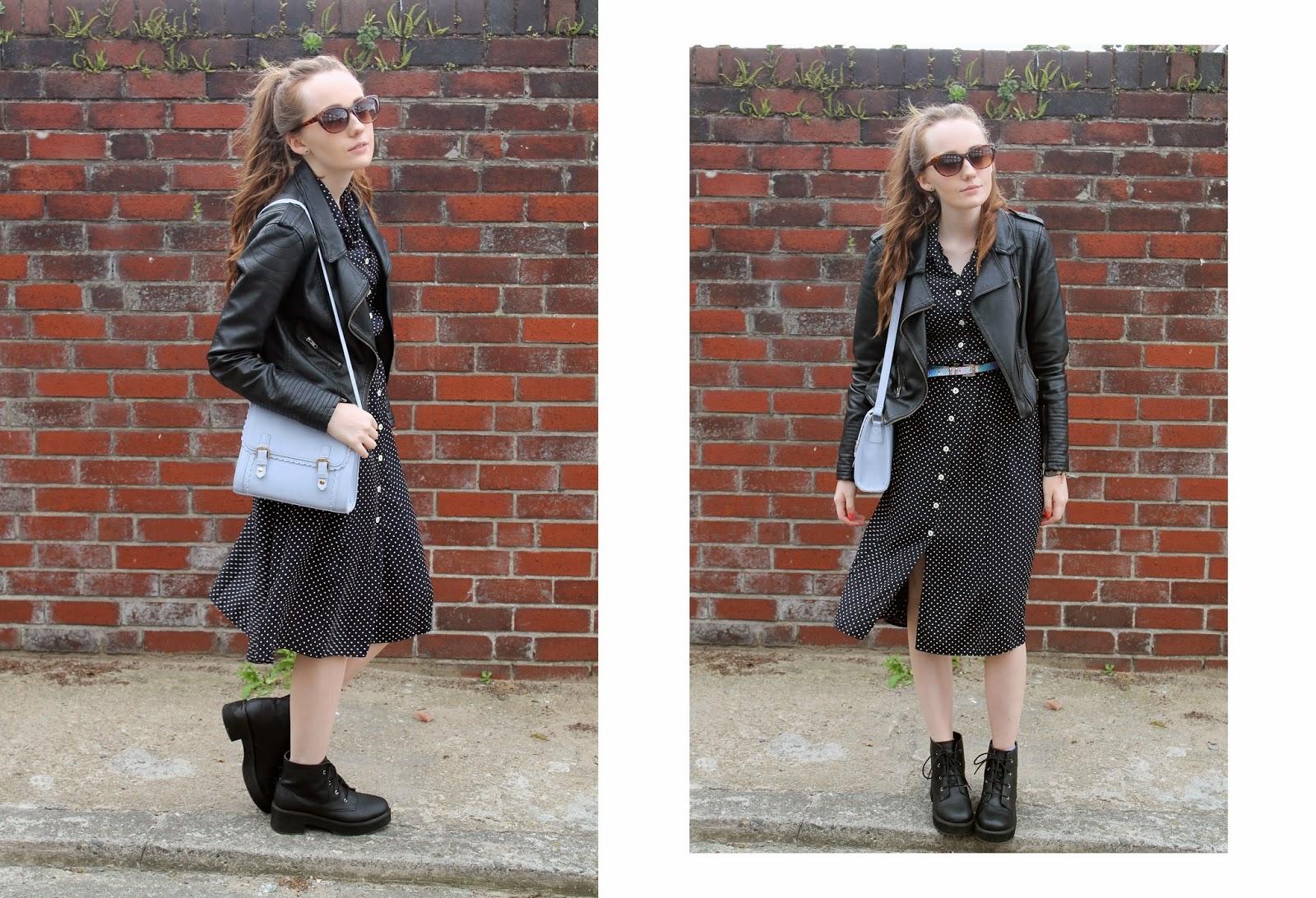 tortoiseshell cateye sunglasses faux leather jacket polka dot button-up vintage midi dress asos scalloped edge satchel asos revolution boots