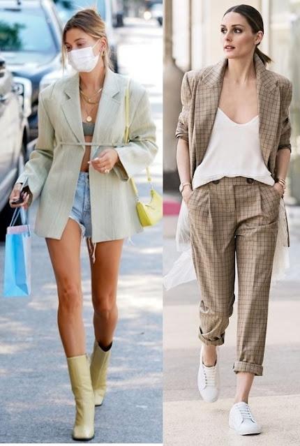 Guia de moda Como usar blazer parte 2, Hailey Bieber, Olivia Palermo