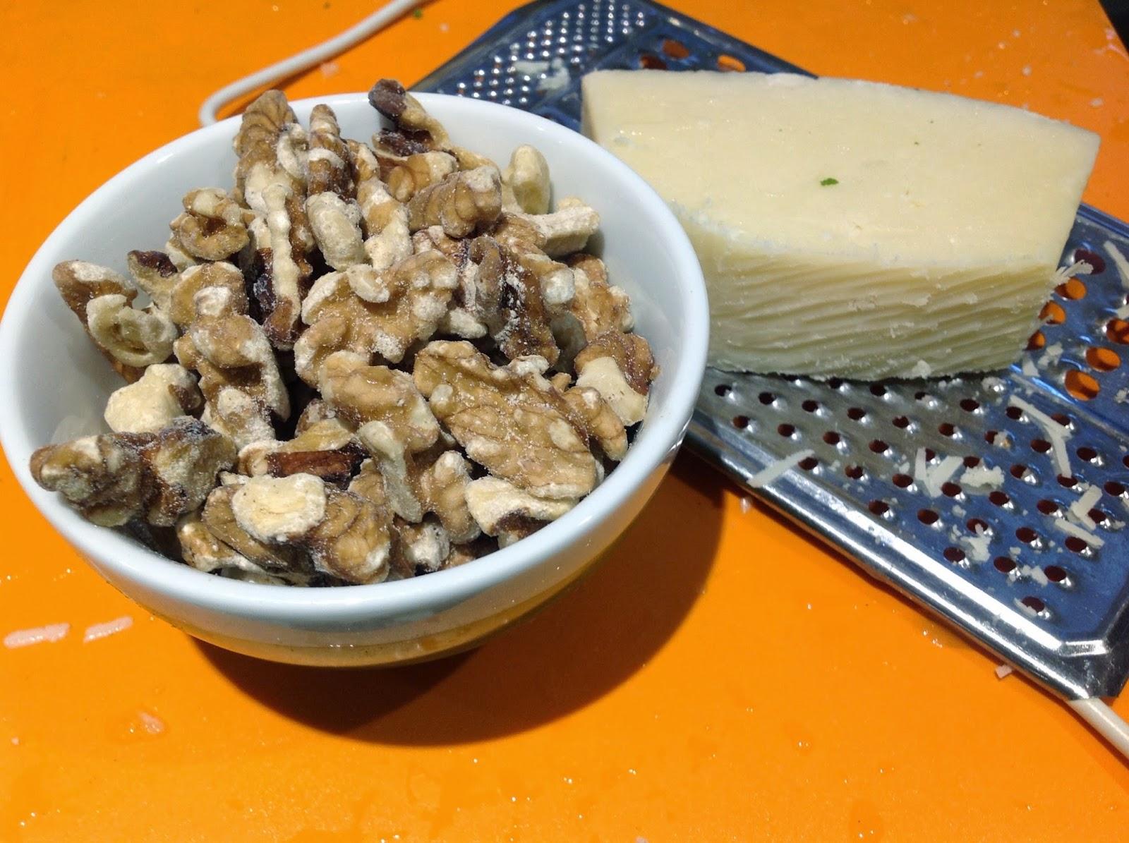 bowl of walnuts and Parmesan cheese