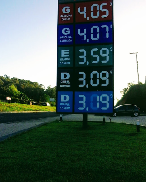 A imagem mostra o preços dos combustíveis estes ainda estão desatualizados