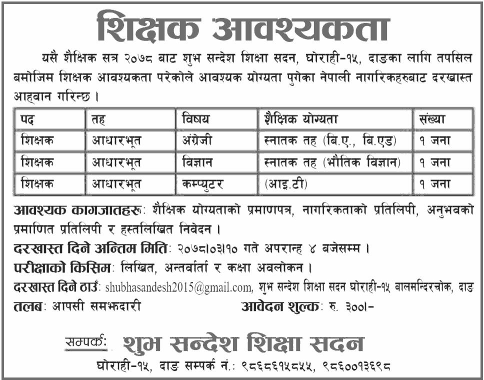 Shubha Sandesh Shiksha Sadan Ghorahi Vacancy for Basic Level Teacher