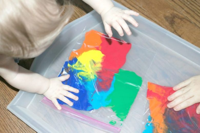 activities for babies - mess free rainbow baby painting activity