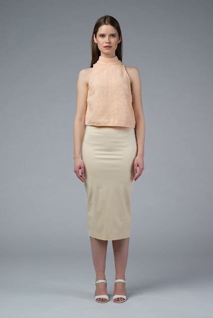 DIONE: Hand Woven Nude Crop Top