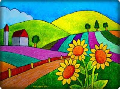 contoh gambar pemandangan alam pedesaan