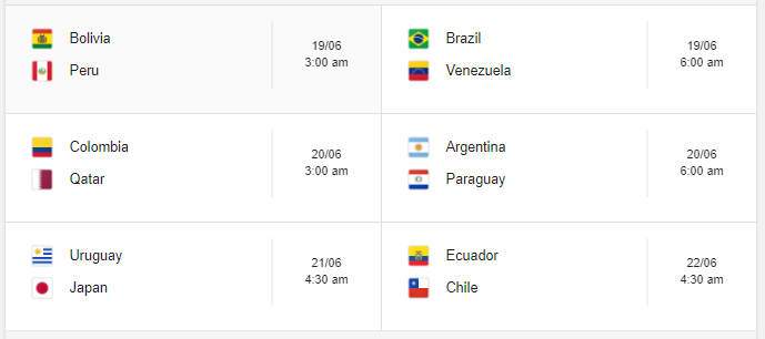 Copa America 2019 Group B Fixture Indian Time