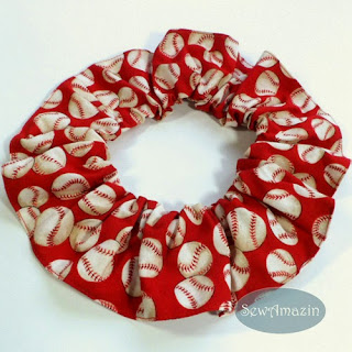 Baseball Dog Scrunchie Ruffle, Red