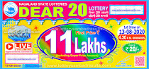 Lottery Sambad Dear 20 Monthly Results 13-08-2020 Nagaland State