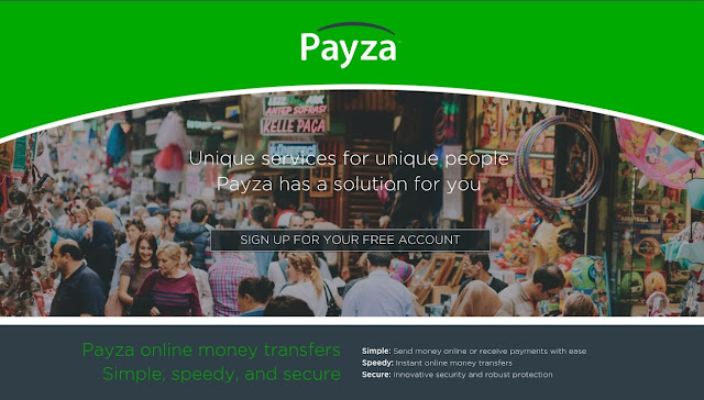 Payza homepage compared with PayPal and Payoneer
