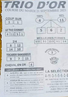 Pronostics quinté+ pmu Mardi Paris-Turf TV-100 % 21/09/2021
