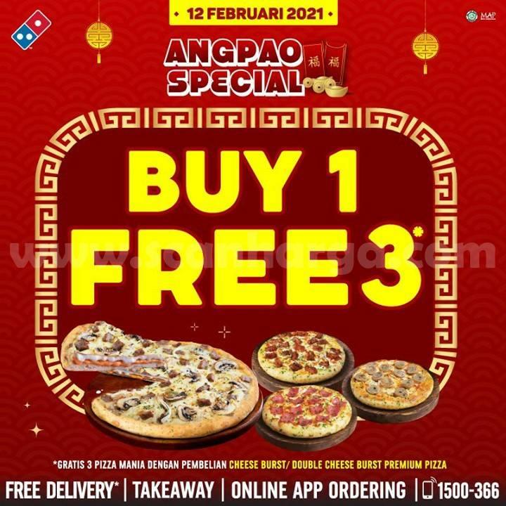 Dominos Pizza ANGPAO SPESIAL! Promo Beli 1 GRATIS 3