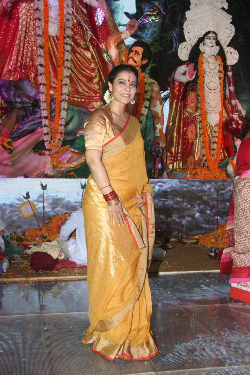Kajol attends Durga Puja at Tulip Star Hotel In Juhu