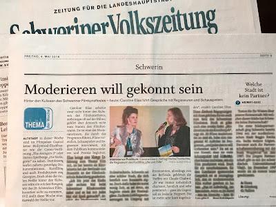 """Schweriner Volkszeitung, 4.5.2018, """"Moderieren will gekonnt sein"""", Autor: Bert Schüttpelz"""