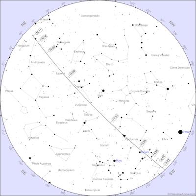 מפת מעבר אופיינית, המראה את מיקום התחנה ברקיע