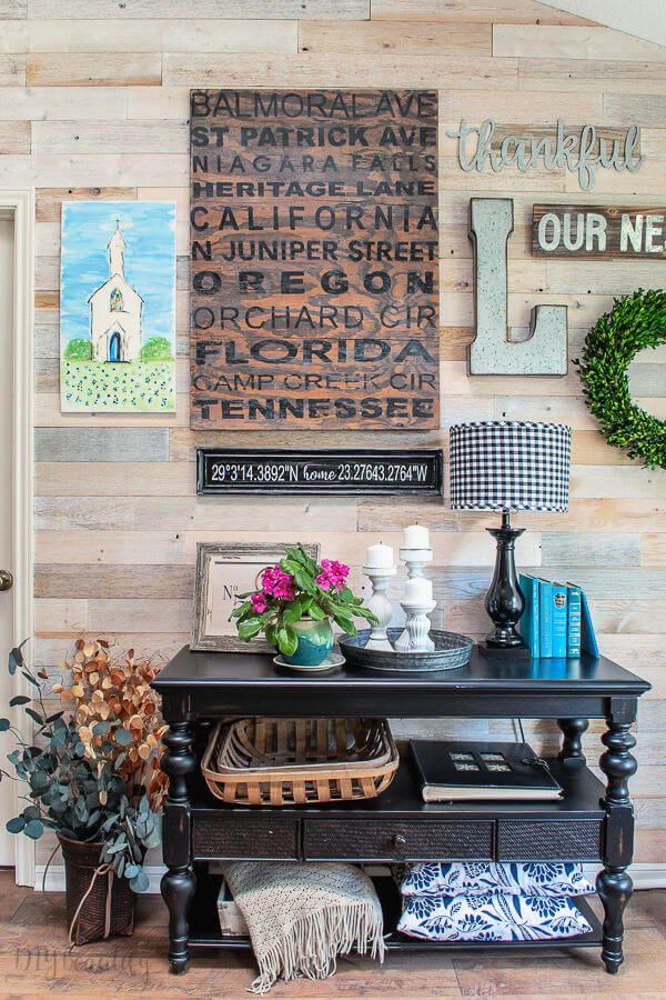 gallery wall with personalized DIY projects