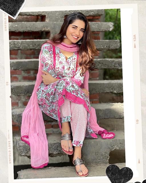 Ruhani Sharma Latest Photos in Floral Churidar Actress Trend