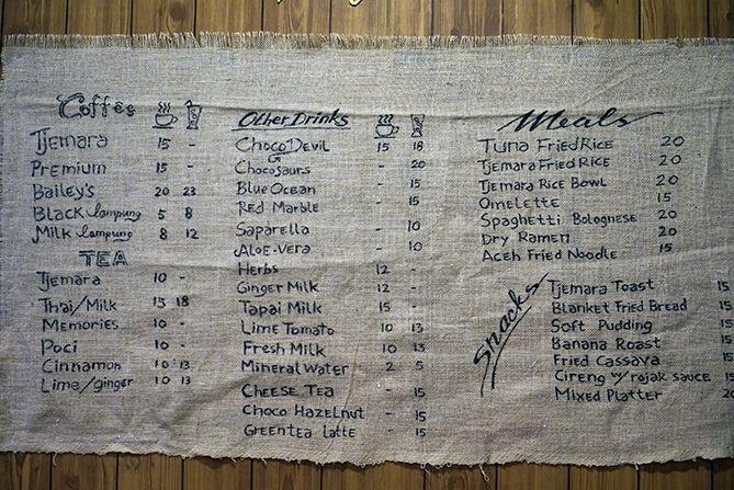 Daftar menu dan harga di Kedai Kopi Tjemara Jogja