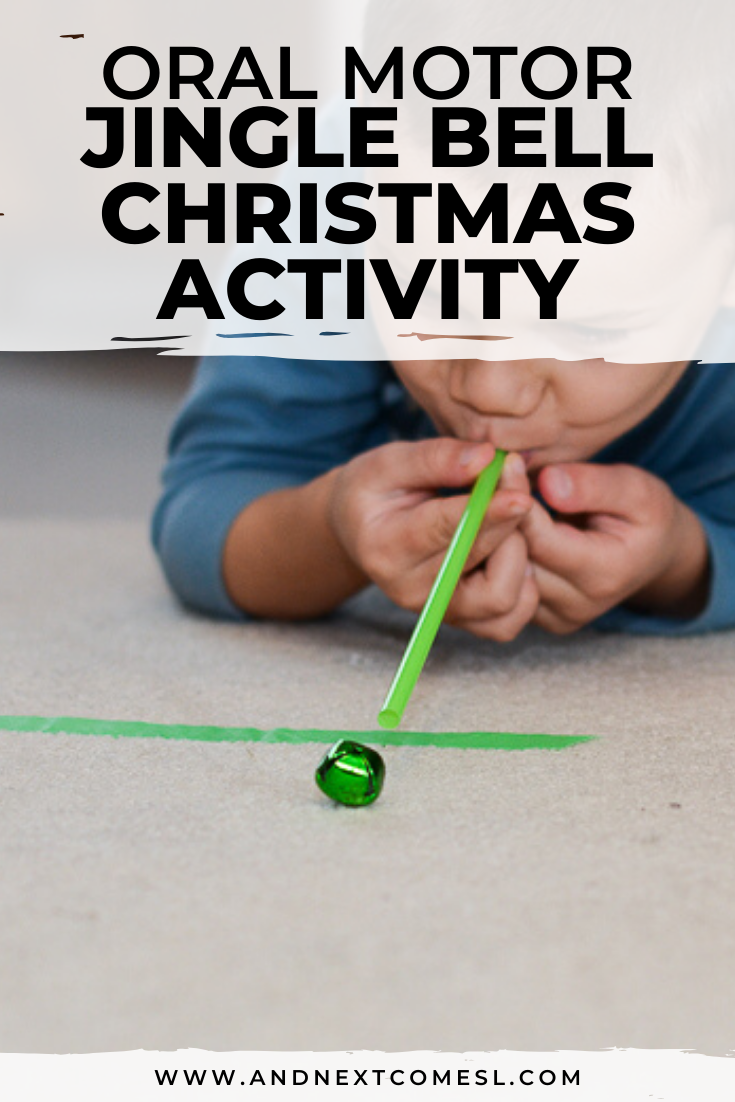 Jingle bell Christmas game and oral motor activity for kids - such a fun idea for toddlers and preschoolers!