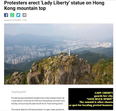 Lady Liberty guards Hong Kong - October 2019