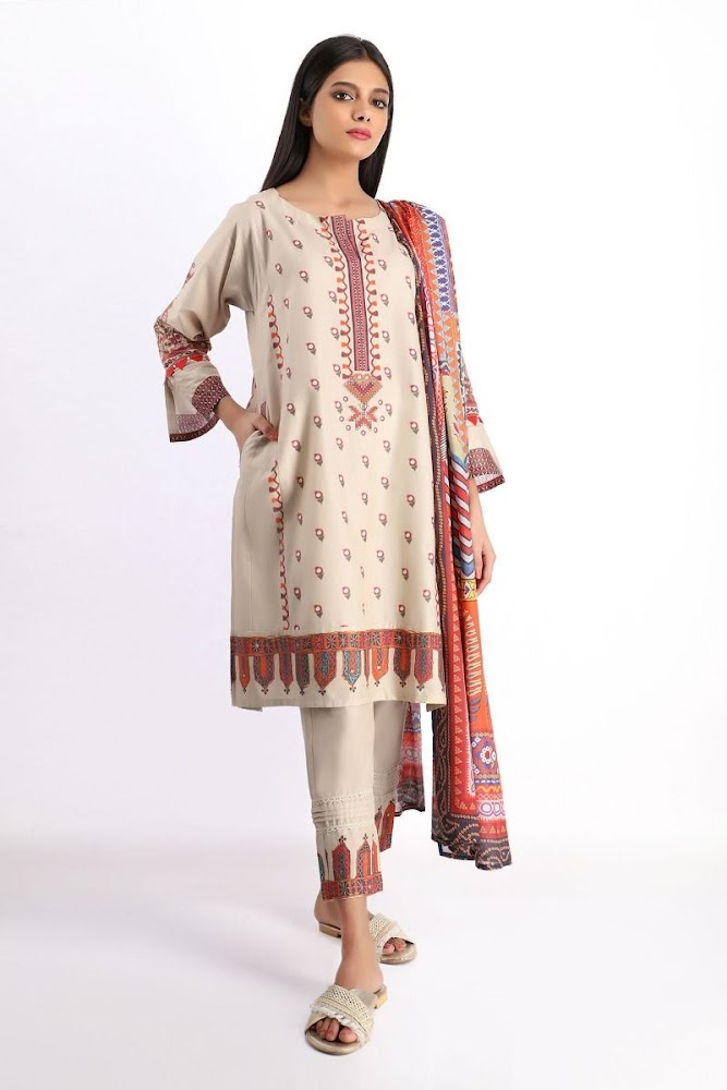 khaadi cambric beige colour suit