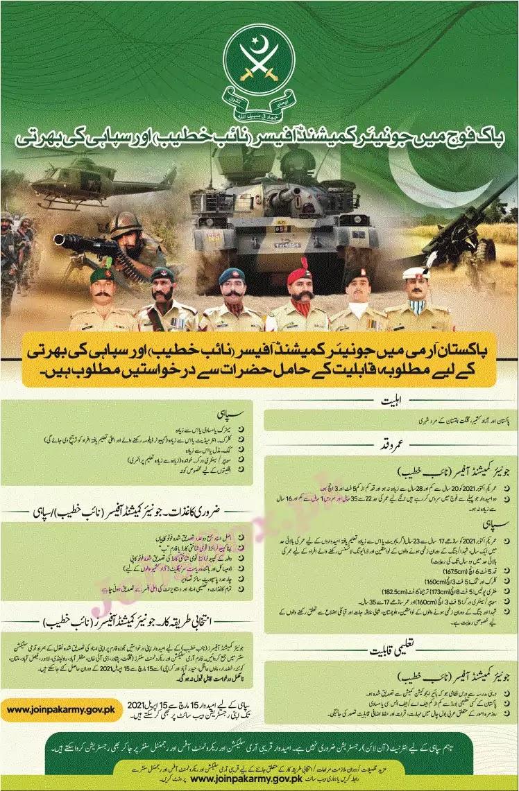 New Army Jobs 2021 - Sipahi Jobs 2021 - Naib Khateeb Jobs 2021 - Pakistan Army Jobs 2021 Matric Base - Pakistan Army Jobs 2021 Online Registration - New Pak Army Jobs 2021 Online Registration :- www.joinpakarmy.gov.pk