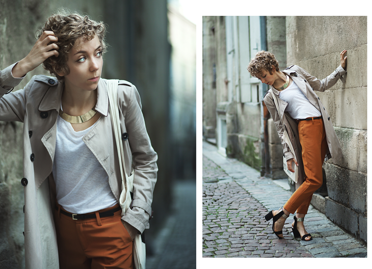 head to foot photography, das sheep's outfit with trench coat and orange pants