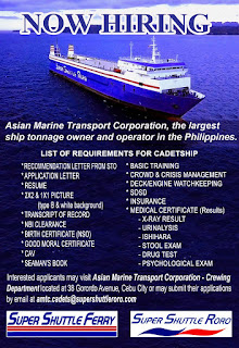 SEAMAN JOB INFO - Marine Transport Corporation opening career for Filipino deck and engine cadet joining at RO-RO vessel with a completed document and valid.