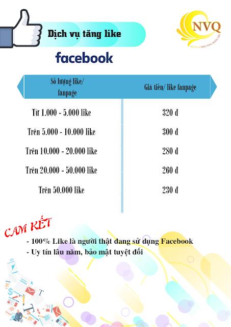 Bang gia tang like Fanpage facebook