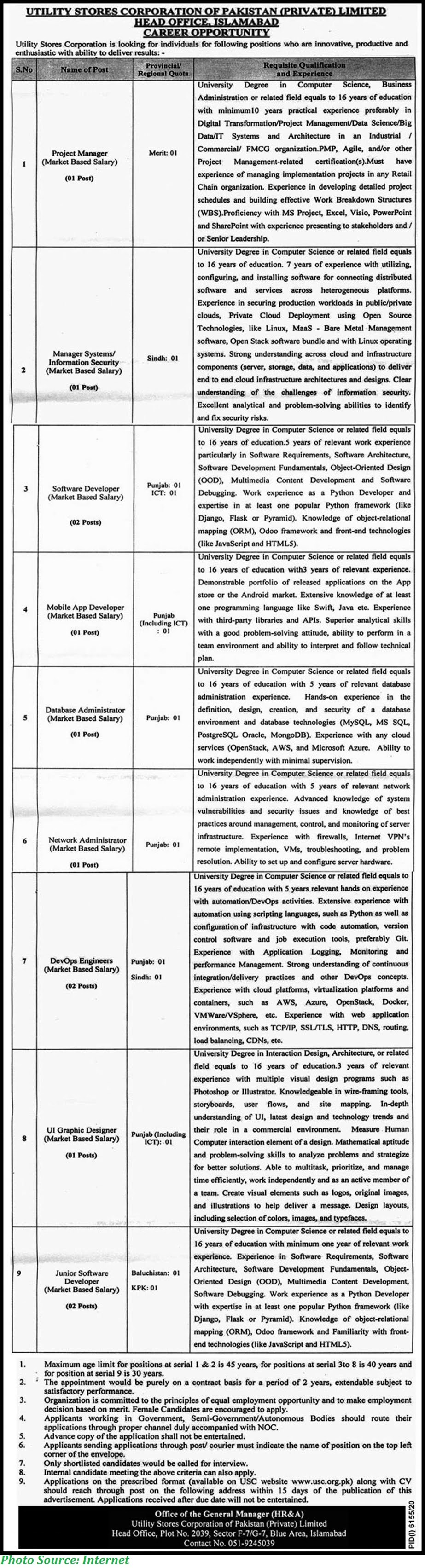 Utility Stores Corporation of Pakistan Jobs 2021 Latest Download Application Forms