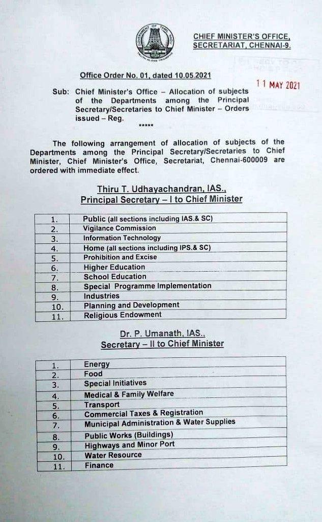 4 தனி செயலாளர்களுக்கு துறைகள் ஒதுக்கீடு செய்து தமிழக அரசு உத்தரவு