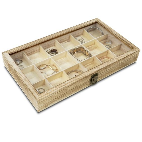 Wooden Display Storage Case with Tempered Glass Lid for Jewelry and Beads with 18 Compartments Tray, Oak Color