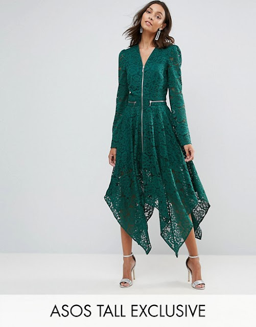 Asos Tall - Vestito midi in pizzo con zip e fondo a fazzoletto