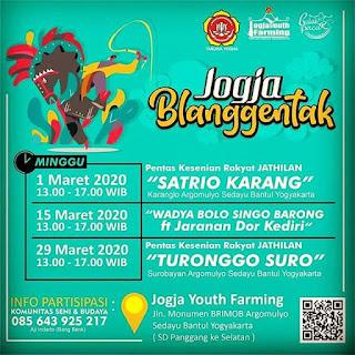 29 Maret 2020 - pkl 13.00 - Jathilan Turonggo Suro -  Jogja Yout Farming - jln monumen Brimob argomulyo sedayu bantul