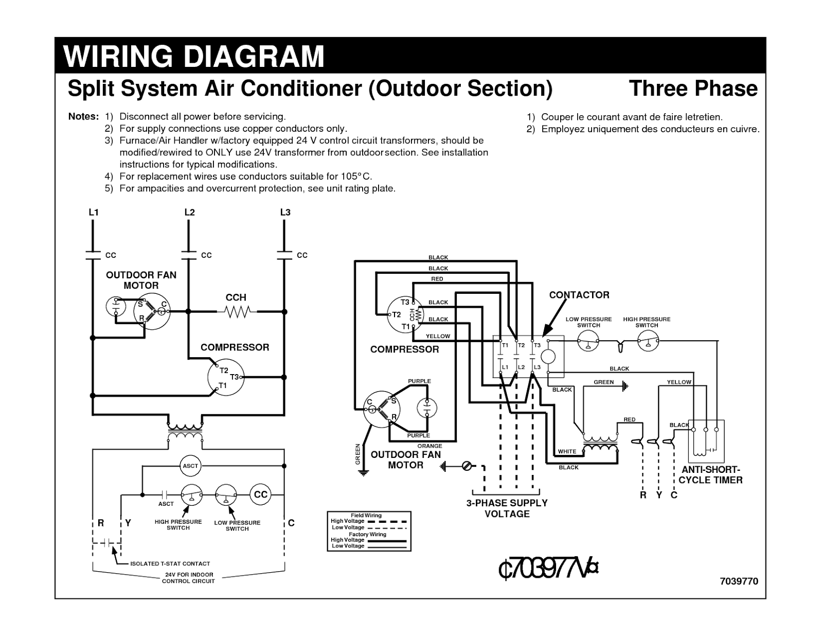 split ac contactor wiring diagram