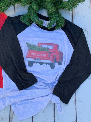 Red Christmas truck with tree on a baseball tee shirt