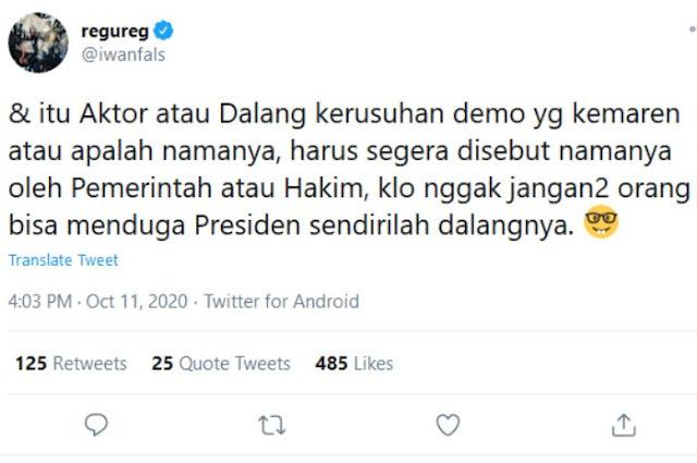 Iwan Fals: Dalang Demo Harus Segera Disebut Namanya, Kalau Nggak Jangan-jangan Presiden Sendiri..