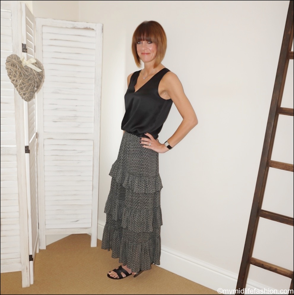 my midlife fashion, marks and Spencer silk top, Isabel Marant Etoile tiered maxi skirt, Ancient Greek demos leather slides