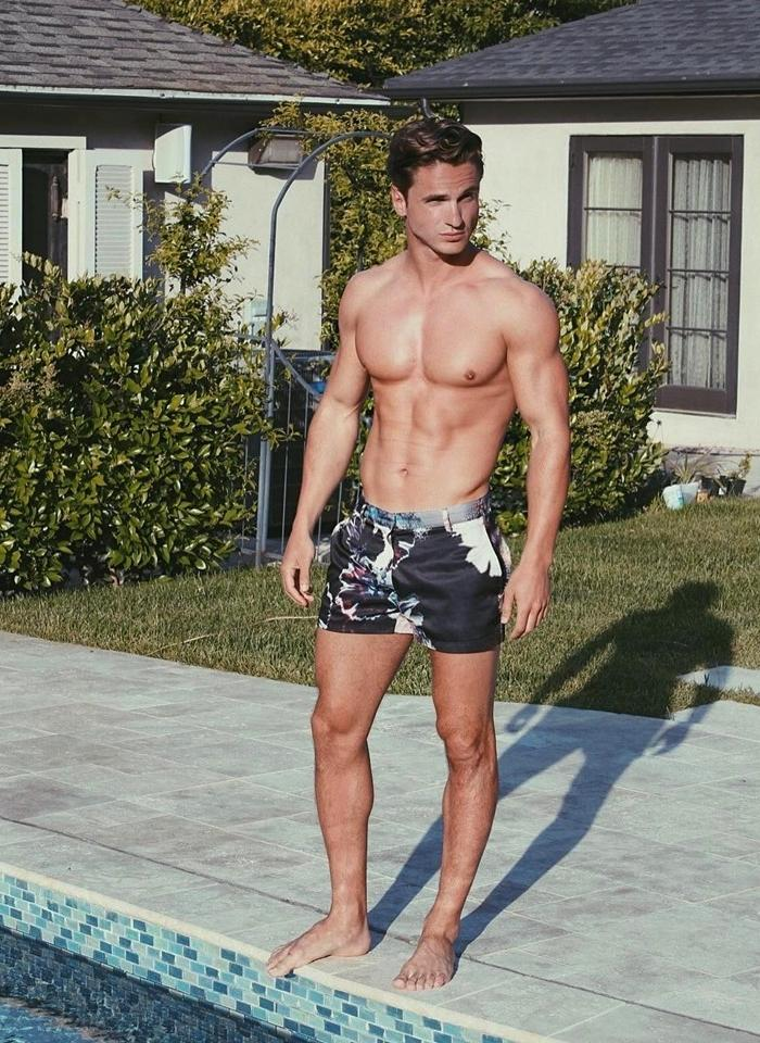 attractive-shirtless-fit-male-model-pool-pecs-posing-boy-next-door-sexy-neighbor