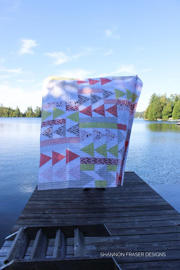 Meow Flight Plan Quilt | Modern Quilt Pattern | Shannon Fraser Designs #quiltsinthewild #trianglequilt