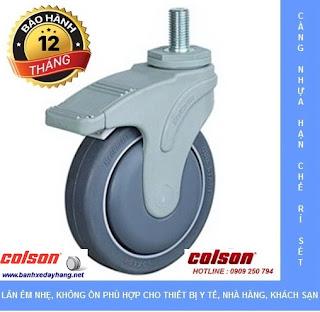Bánh xe đẩy trục ren càng nhựa STO dùng cho xe đẩy Bệnh Viện www.banhxeday.xyz
