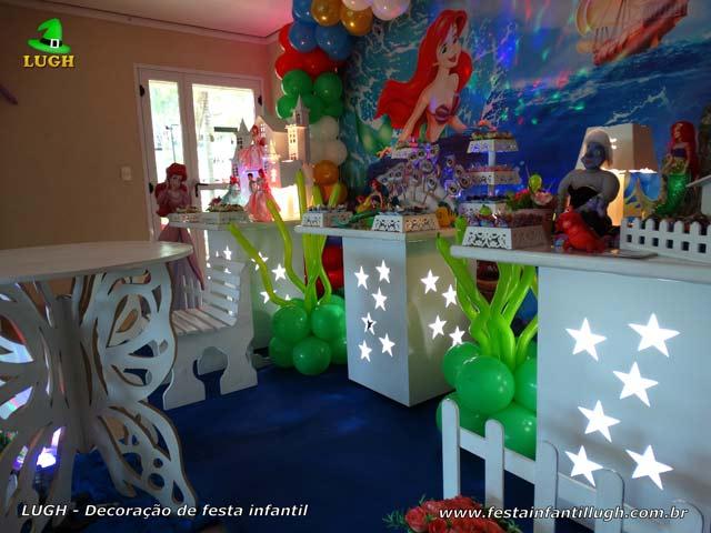 Decoração de festa infantil A Pequena Sereia - Mesa temática decorada para aniversário