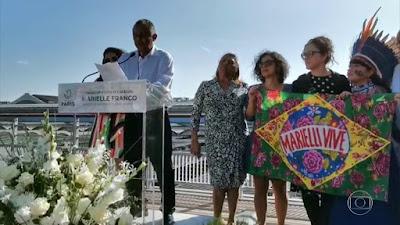 Inauguração do Jardim Marielle Franco em Paris, com a mãe de Marielle