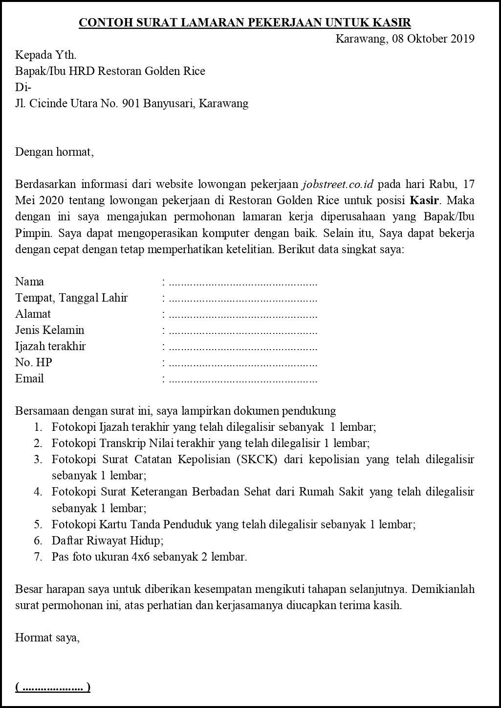 Contoh Surat Lamaran Pekerjaan Untuk Restoran Dan Cafe Kasir Barista Resepsionis Dll Tanpakoma