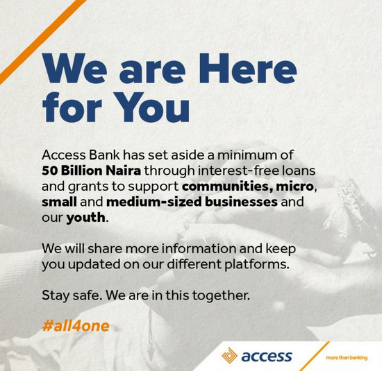 Access Bank Announces N50 Billion Interest Free Loans, Grants for Nigerians