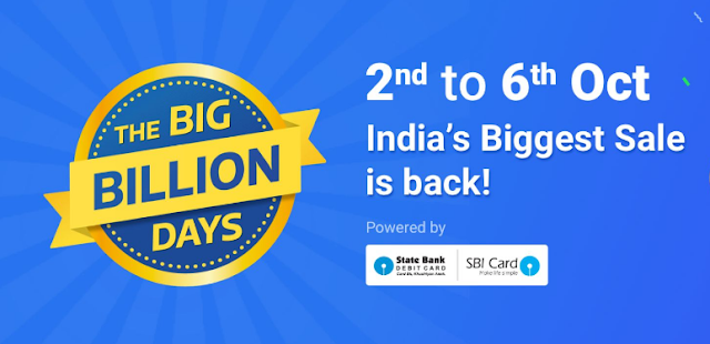 Flipkart THE BIG BILLION DAYS Starts from 2nd to 6th Oct 2016 on Flipkart